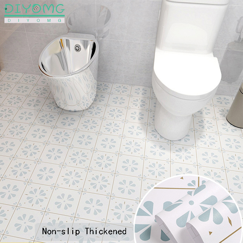 Kitchen Bathroom Floor Tiles Stickers Non-slip Waterproof PVC Self-adhesive Wallpaper Wall Floor Contact Paper Bathroom Stickers