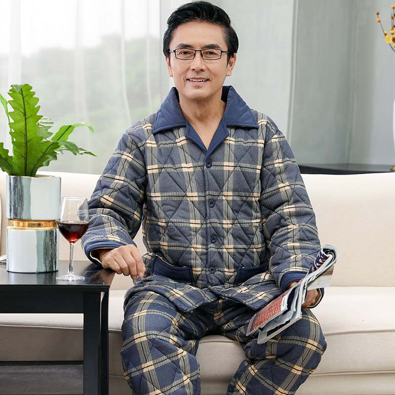 Plaid Print Men's Pajamas Set Winter Pure Cotton Thick Quilted Long Sleeve Trousers Set Casual Autumn Home Service Men Sleepwear