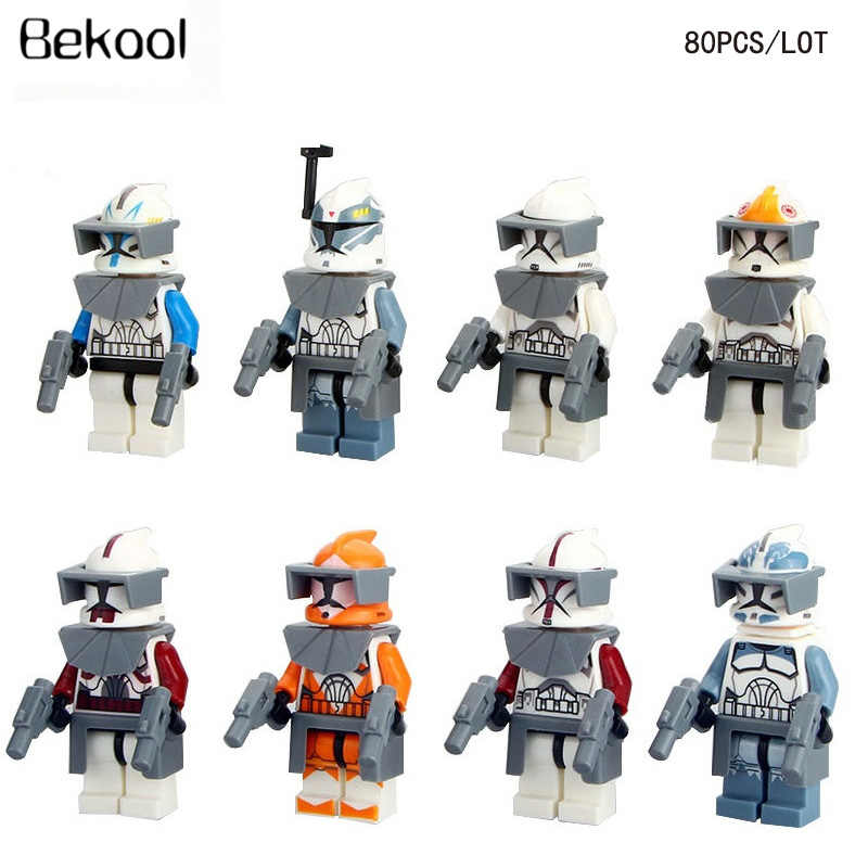 80 pz/lotto star Wars Clone trooper Bianco Clone Comandanti Wolfpack Capitano Rex figure compatibile legoe mini building block giocattolo