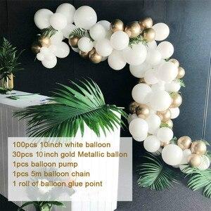 Image 3 - Ballons en arche en or et blanc, 133 pièces, en guirlande pour mariage, décoration en Kit pour fête danniversaire