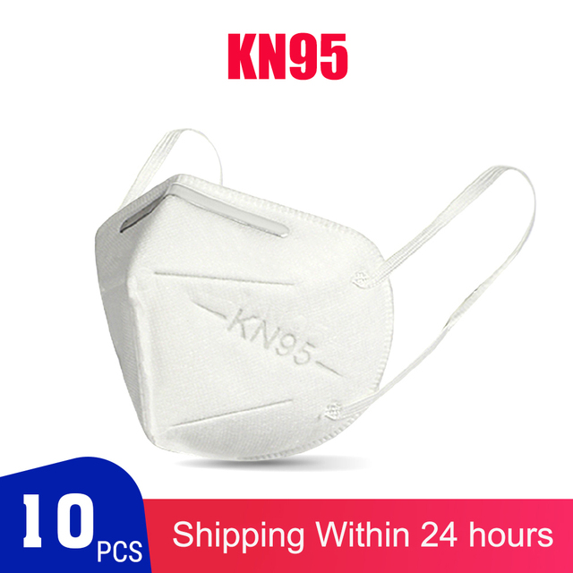 Fast Shipping KN95 Dustproof Face Masks 95% Filtration KN95 Cover Facial Mouth Dust Masks Safety Breathable Elastic Earloop