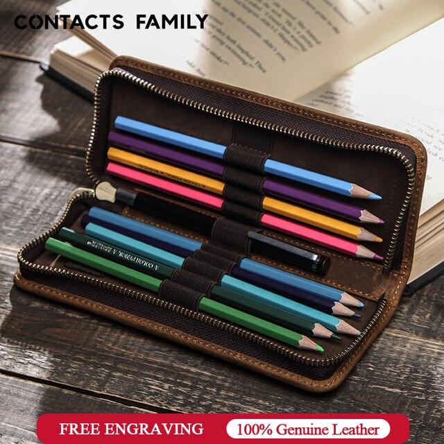 Genuine Cow Leather Zipper Pen Pouch Pencil Bag Pen Bag Retro Pencil Case School Stationery Bag For Fountain Pen Simple Style
