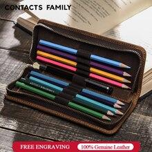 Hakiki inek deri fermuar kalem kılıfı kalem çantası kalem çantası Retro kalem kutusu okul kırtasiye çantası dolma kalem basit tarzı
