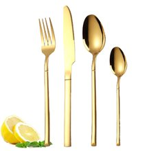 Knights cutlery set four-piece creative western steak knife and fork golden stainless steel knife and fork