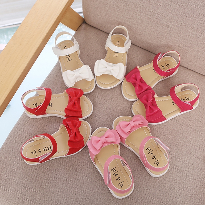 1 2 3 4 <font><b>5</b></font> <font><b>6</b></font> 7 Years old Summer Toddler Baby Girls bow-knot Sandals For Little Girls Infant Soft Bottom Beach Sandals New Shoe image