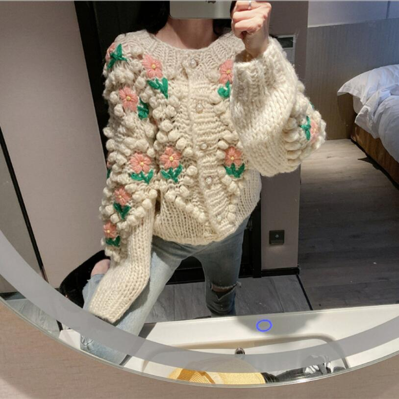 Mori Girl Sweater Spring Autumn Knitted Single Breasted Sweater Floral Knitwear