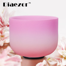 Diaezor 8 Inch Crystal Singing Bowl Chakra CDEFGAB Note Candy Colored Frosted Quartz Bowl 8