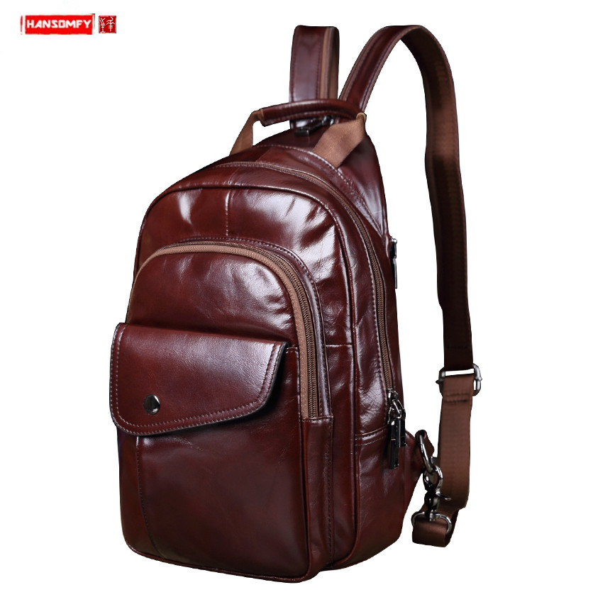 Vintage Leather men's chest bag casual shoulder bag retro messenger bag multipurpose male Korean version of the tide small bags