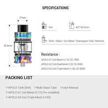 Electronic Cigarette APOLO TANK 5.0ml atomizer with 0.15ohm/0.17ohm mesh coil vape head coils leak proof  Dropshipping
