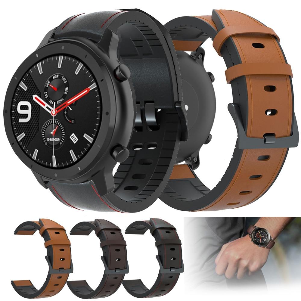 22mm Watch Strap For Huami Amazfit GTR 47mm Genuine Leather Band Silicone Bracelet Watchbands Amazfit Sport Stratos 2 3 ремешок