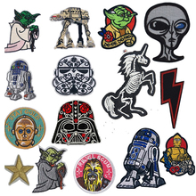 1PC New Arrival Cartoon Yoda BB8 Robot Wholesale Iron on Embroidered Cloth Clothes Patch For Clothing Girls Boys
