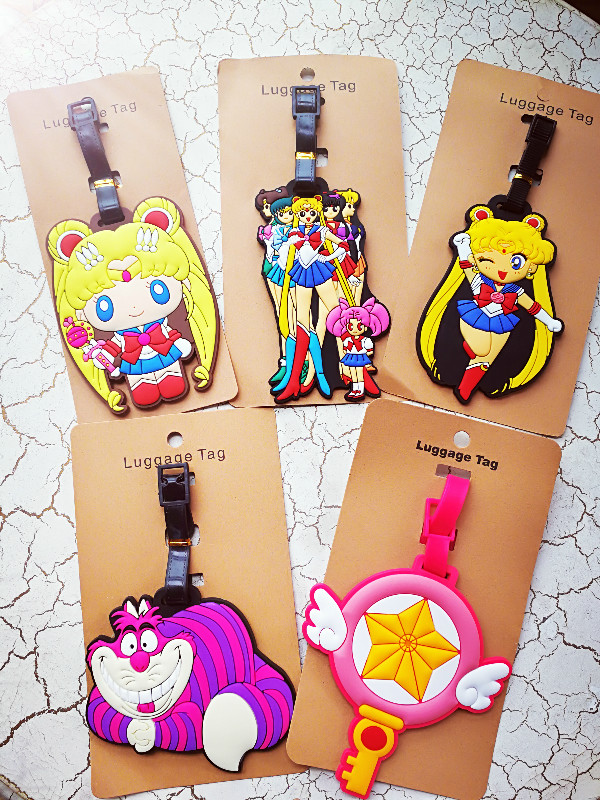 1pcs Sailor Moon Cheshire Cat Anime Travel Brand Luggage Tag Suitcase ID Address Portable Tags Holder Baggage Labels New