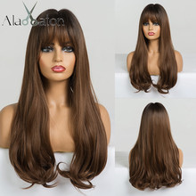 ALAN EATON Long Wavy Synthetic Wigs with Bangs for Black Women African American Ombre Black Brown Cosplay Heat Resistant Hair