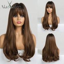 ALAN EATON długie faliste syntetyczne peruki z grzywką dla czarnych kobiet afroamerykanin Ombre czarne brązowe Cosplay żaroodporne włosy