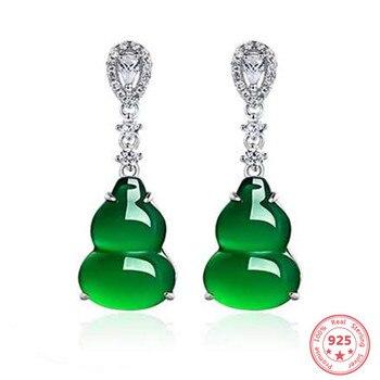 925 Silver Color Jewelry Emerald Diamond Earring for Women Green Jade Gemstone Bizuteria 925 Jewelry Garnet Emerald Earring 925 sterling silver color beautiful earrings women jewelry gemstone orecchini bizuteria brincos earring diamond 925 earring