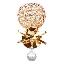Lámpara de pared E14, lámpara de pared de cristal, lámpara de pared de cabecera de dormitorio Simple y creativa, luces de cristal dorado/plateado para iluminación casera