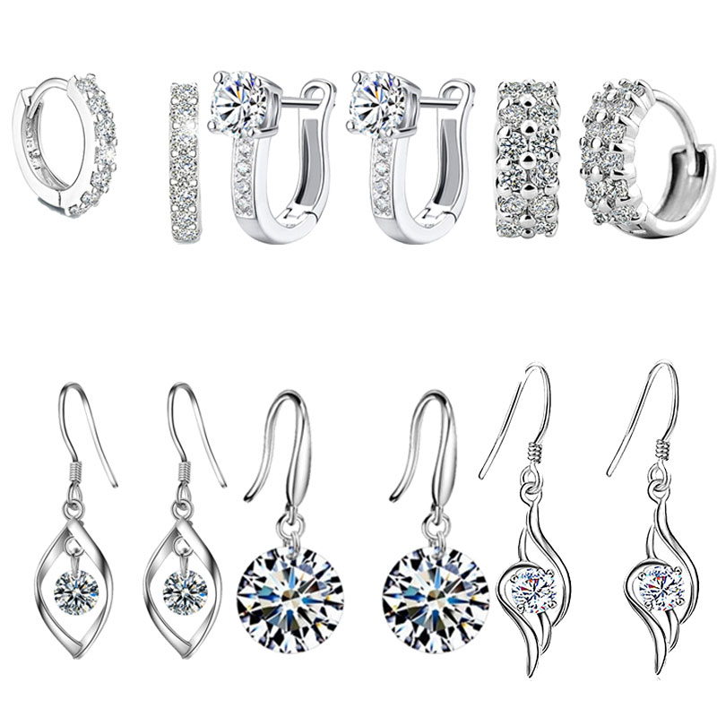 Hot 925 Sterling Silver Double Row Shiny Zircon Earrings Female Models Suitable for Valentine's Day gift Factory Wholesale Price