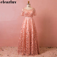 Evening Dress 2019 Plus Size Sequined Embroidery Formal Gowns Elegant Pink Women Party Dresses T435 Floor Length Robe De Soiree