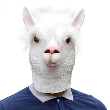 Alpaca Latex Animal Head Mask Grass Mud Horse for Halloween Costume Party Props Adult Kids Accessory