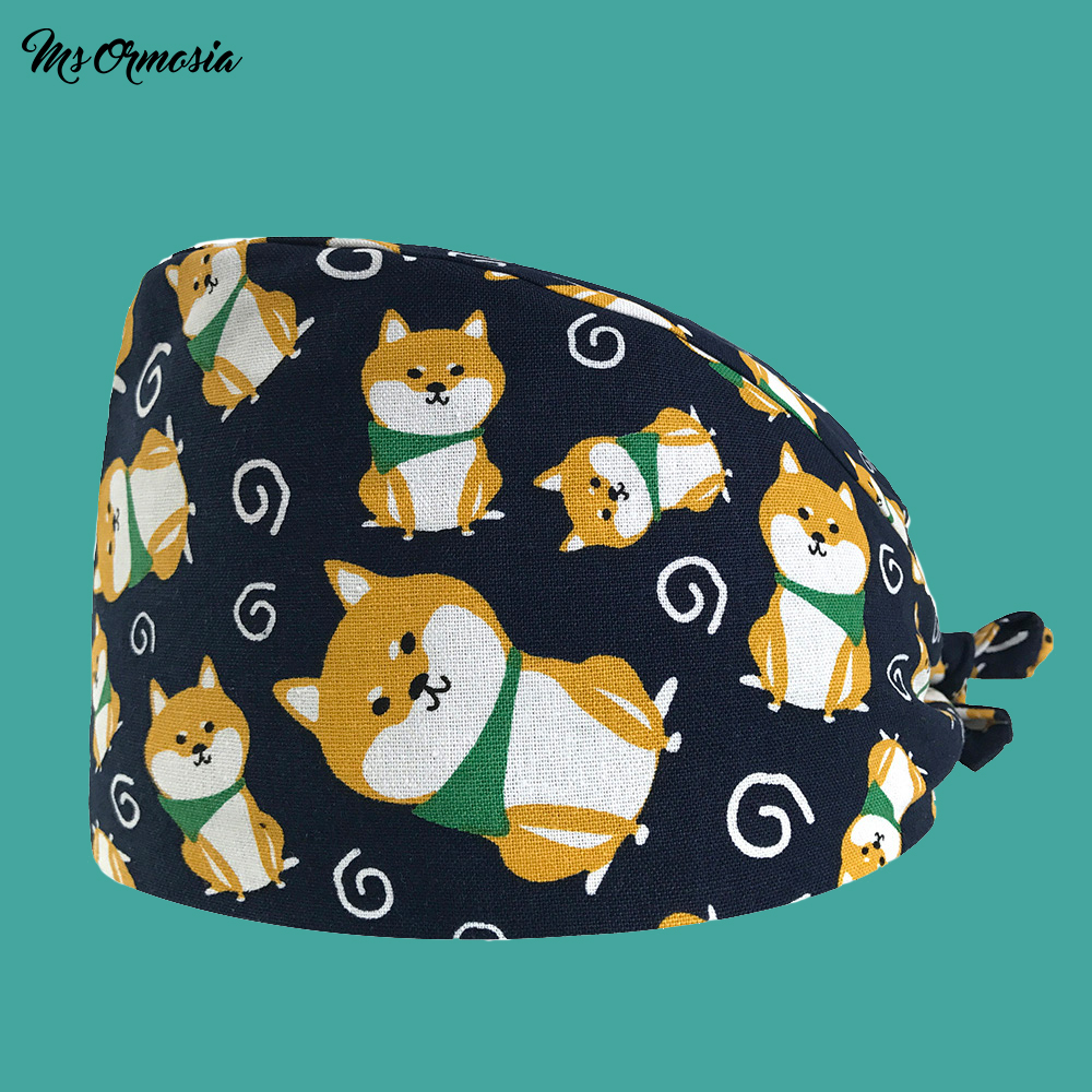 Quality Puppy Printing Men And Women 100% Cotton Hospital Doctor Cap Home Care Cap Drawstring Surgical Cap Hospital Nurse Hat