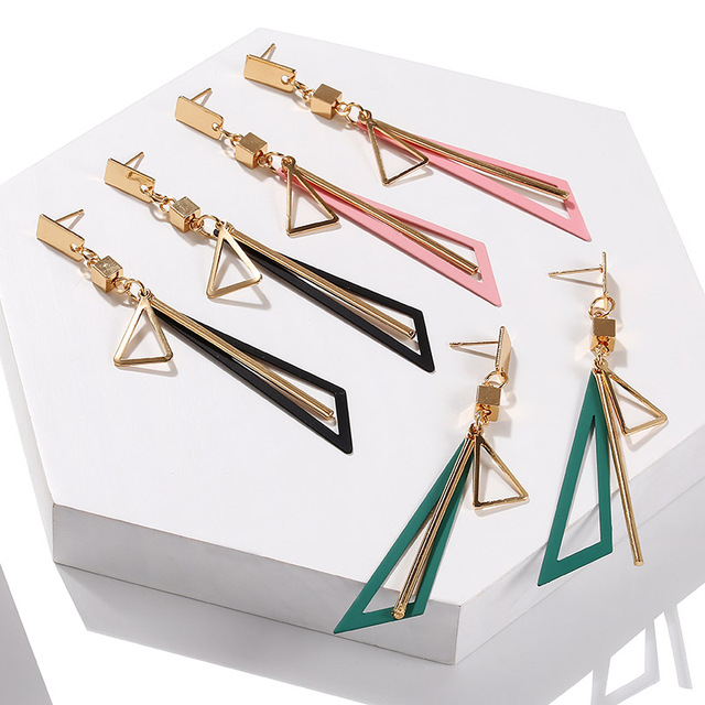 Geometric Square Triangle Long Tassel Drop Earrings