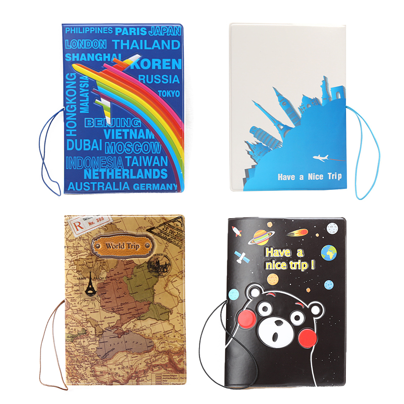 Exquisite Embossed Leather Passport Covers Cartoon Planes Maps Multi-function Travel Passport Holder Card Holders Ticket Folder