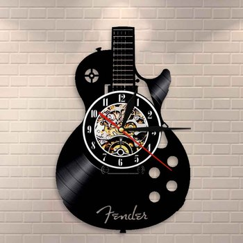 Acoustic Guitar Wall Art Wall Clock Musical Instrument Home Interior Wall Decor Vinyl Record Wall Clock Rock n Roll Musical Gift