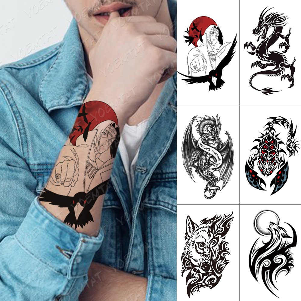 Waterproof Temporary Tattoo Sticker Kurama Naruto Itachi Uchiha Crow Flash Tattoos Maori Totem Body Art Arm Fake Tatoo Women Men
