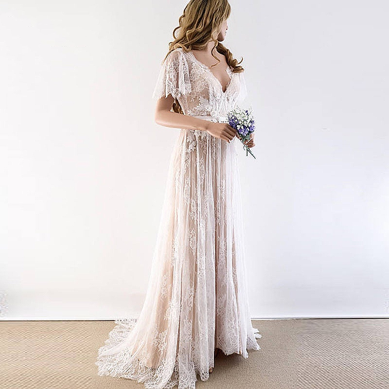 Boho Wedding Dress 2020 V Neck Vintage Cap Sleeve Lace Beach Bridal Gown Backless A-Line Wedding Gown With Sleeve Robe De Mariee