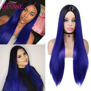 HANNE Black Blue/Gray/Red/Yellow Ombre Color Long Straight Wigs Natural Middle Part For Women Heat Resistant Colored Hair