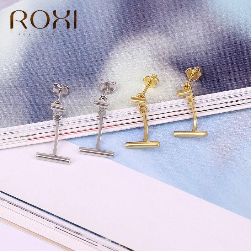ROXI Minimalist Bar Stud Earrings 925 Sterling Silver Ear Pin Helix Piercing Earrings for Women Female Bijoux Boucle d'oreille