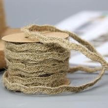 Rustic 5M Burlap String Jute Twine Weaving Hemp Rope Wrapping Cords Thread Multifunction DIY Handmade Thread Macrame Cord Ropes