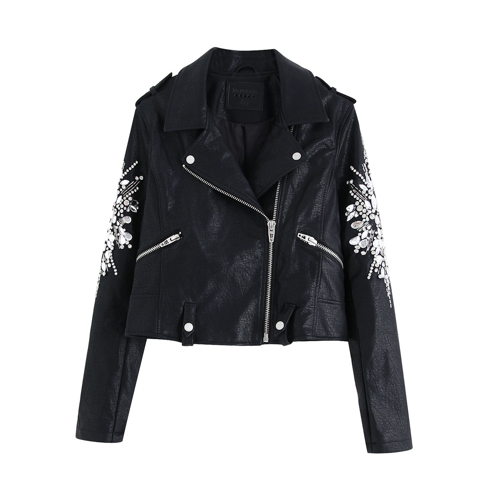 Women Autumn PU Beading   Leather     Suede   Coats Long Sleeve Turn-down Collar Female Casual Black Short   Leather     Suede   Outerwear