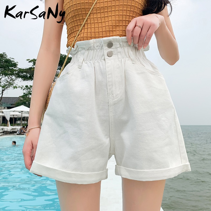 Summer Denim Shorts Women Plus Size Wide Leg Loose Short Jeans Feminino Black Women's Summer High Waisted Shorts For Women Denim