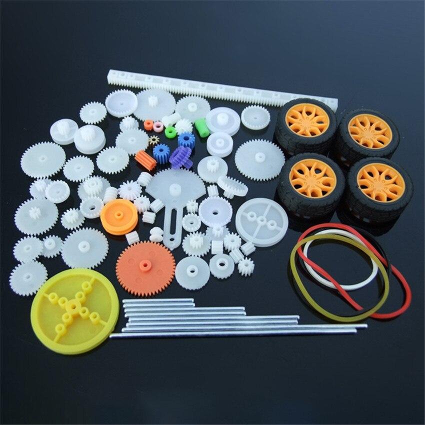 78pcs/set Model Gear Kit Motor Axles, Tires, Bushings, Copper Gears, Bevels, Racks Accessories For DIY Toy Car Gears Model Parts