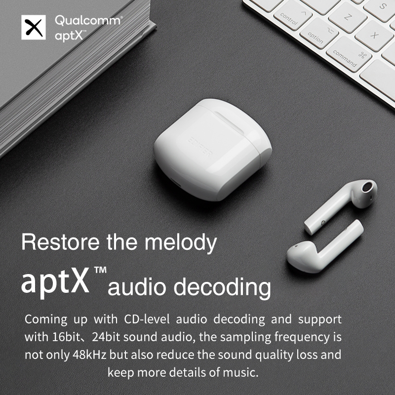 EDIFIER TWS200 TWS Earbuds Qualcomm aptX Wireless earphone Bluetooth 5.0 cVc Dual MIC Noise  cancelling up to 24h playback time 2