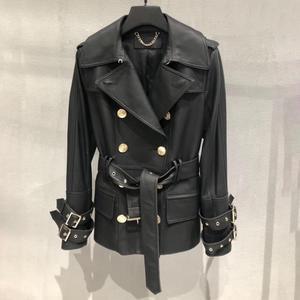 Image 4 - Genuine real leather jacket sheepskin short trench coat women 2019 new fashion double breasted england style windbreaker