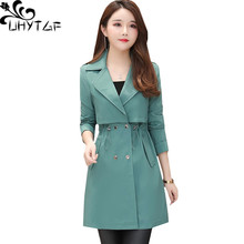 UHYTGF women windbreaker Double-breasted slim thin coat solid color High quality spring autumn