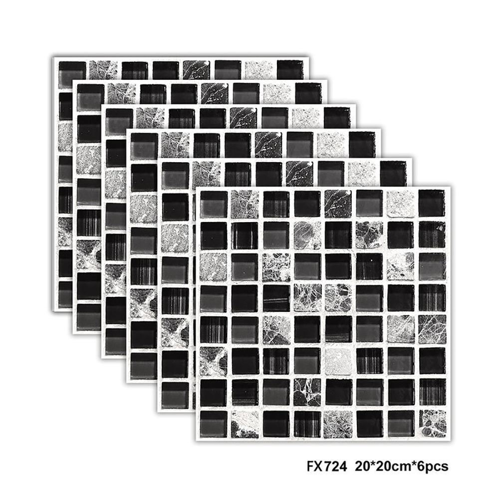 Lychee Life Multicolor Glass Mosaic Tile Square Mosaic Stick Tile DIY Arts Crafts Making Home Decoration Material