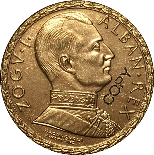 Albania 1928 100 Franga Ar COIN COPY  35mm