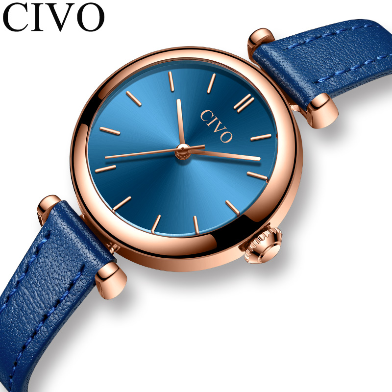 Montre Femme 2019 CIVO Fashion Luxury Watch Women Leather Strap Waterproof Ladies Dress Quartz Wristwatch Female Girl Gift Clock