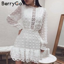 BerryGo Elegant autumn winter white dress women Vintage polka dot lace dresses female Long sleeve chiffon short dress vestidos(China)