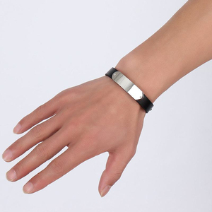 Image 2 - Vnox Mens Free Custom Engraving Name Love Date Inspirational Messages Black Genuine Leather Bracelets Bangles Size Adjustable