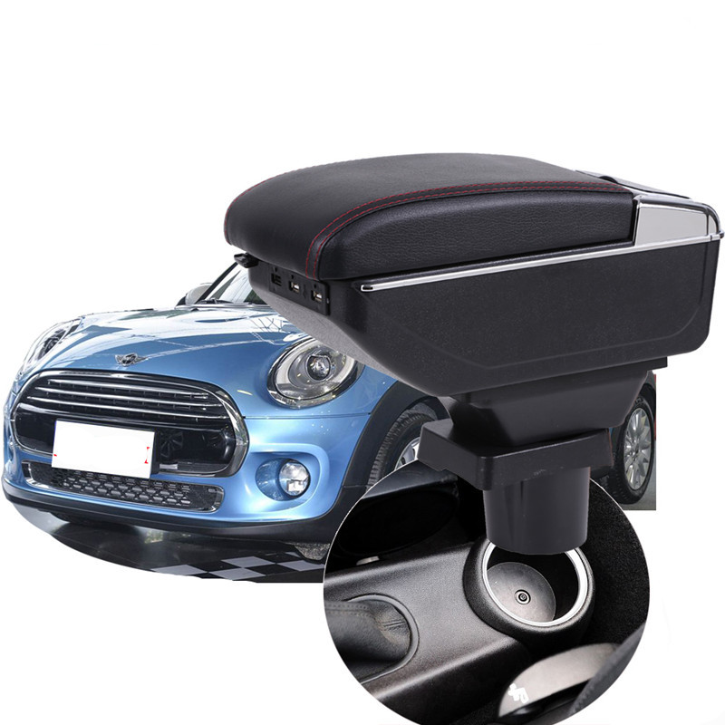 Car Armrest Center Console Storage Box For MINI COOPER COUPE With Rotatable Arm Rest Leather Pad /&Cup Holder /& Ashtray Black Handrail Box Central Armrest Box Cover Black Line