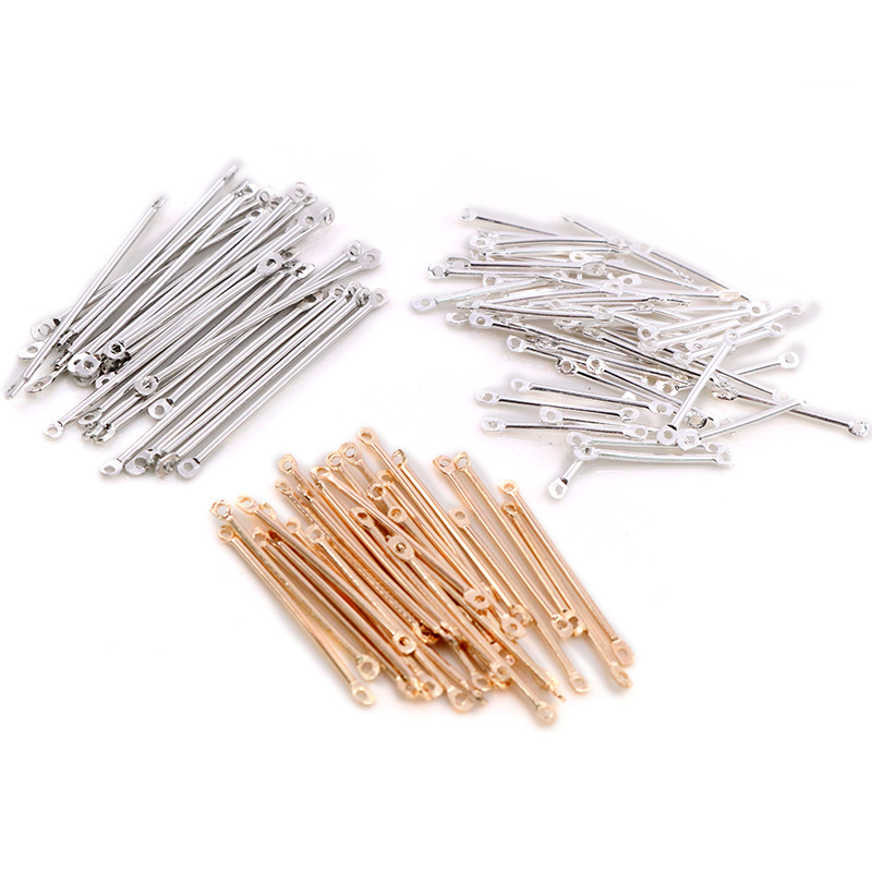 100pcs/lot 15 20 25 30 35 40mm Bar Shape Connectors Earring Connectors Diy Accessories For Earrings Jewelry Making Materials(China)
