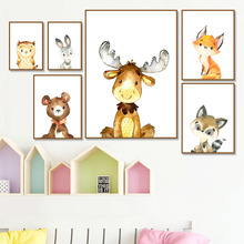 Deer Fox Rabbit Owl Cartoon Animal Wall Art Print Canvas Painting Nordic Canvas Posters And Prints Wall Pictures Baby Kids Room цена и фото