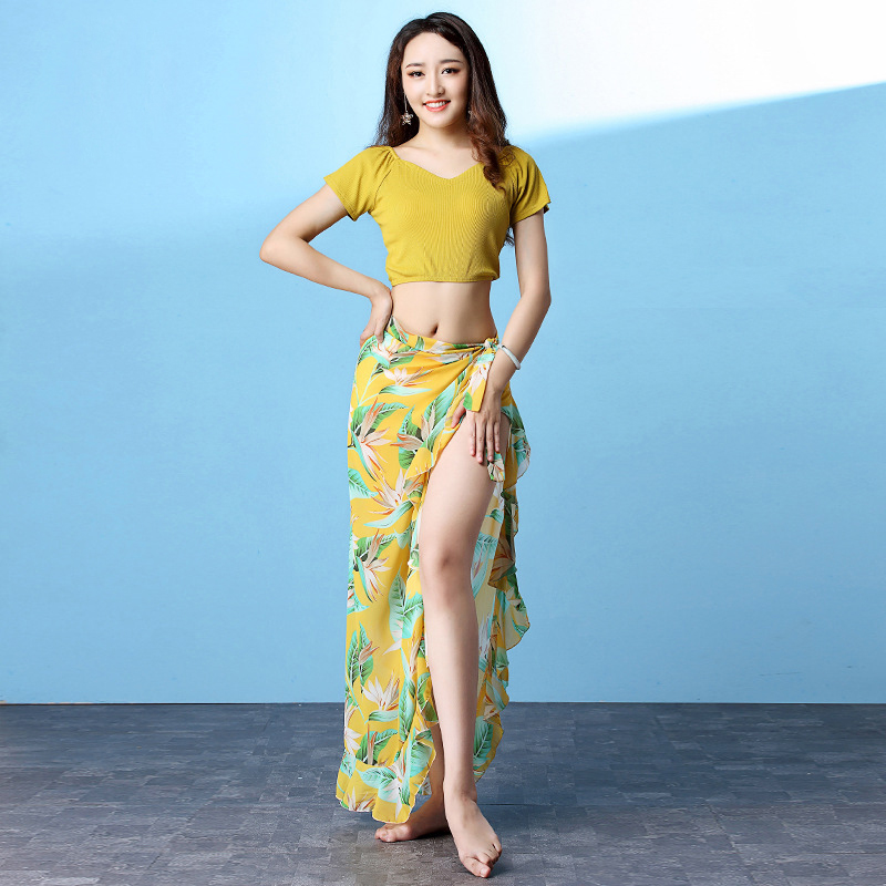 New Autumn Women Dance Clothing  Floral Printed Class Wear Colored Belly Dance Costume Top Skirt 2pcs Set Hip Scarf