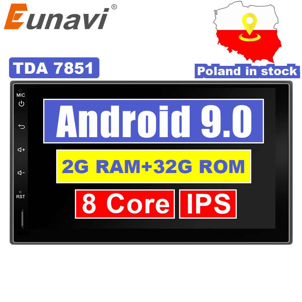 Eunavi 2 Din 7 ''アンドロイド 9.0 ユニバーサルカーラジオダブル din ステレオ GPS ナビゲーションダッシュ Pc ビデオ WIFI USB 2din BT