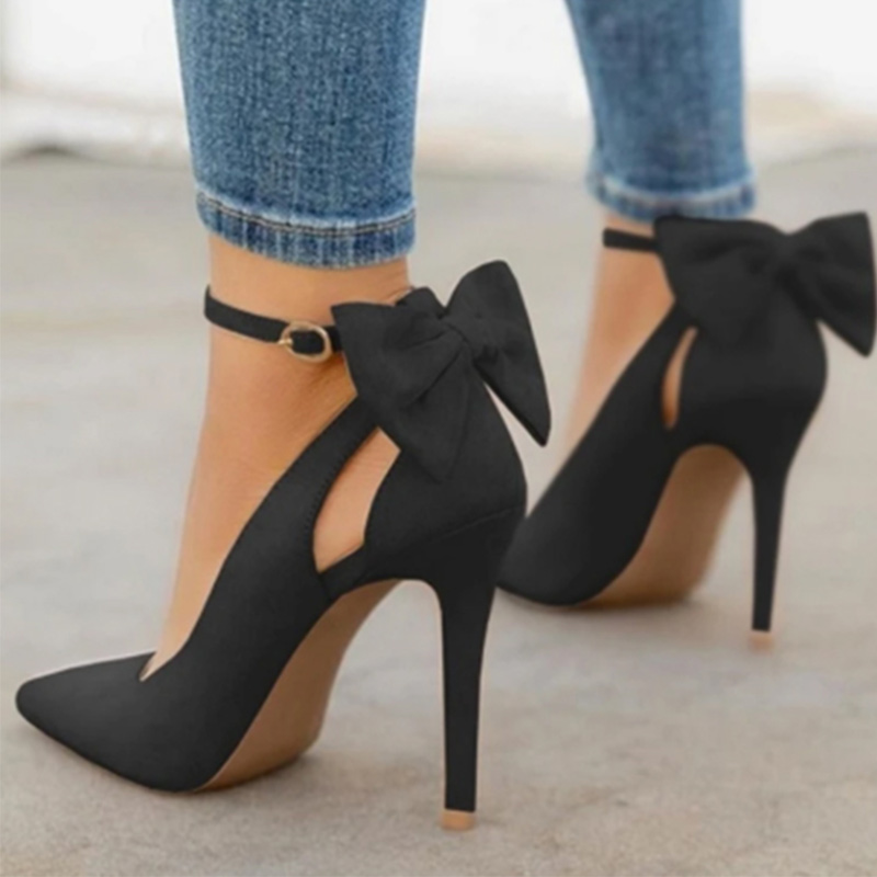 Women Pointed Toe High Heels Woman Thin Heels Ladies Sexy Pumps Ladies Buckle Strap Female Fashion Bowknot Shoes Plus Size 34 43