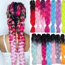 Aisi Hair 24 inch Jumbo Braids Long Ombre Jumbo Synthetic Braiding Hair for women Crochet Blonde Pink Hair Extensions Kanekalo